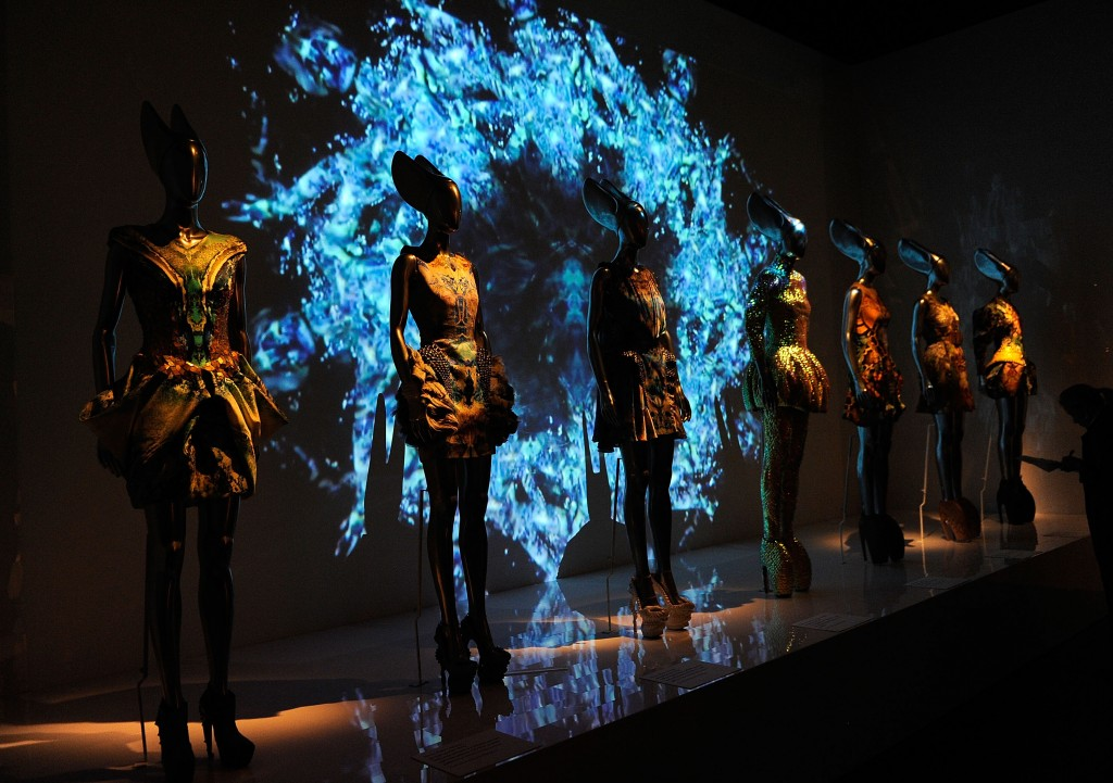 """NEW YORK, NY - MAY 02:  A general view of atmosphere at the press preview for the """"Alexander McQueen: Savage Beauty"""" Costume Institute exhibition at The Metropolitan Museum of Art on May 2, 2011 in New York City.  (Photo by Andrew H. Walker/Getty Images)"""
